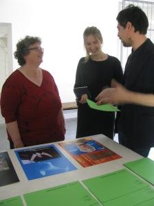 Lorna Boschman stands with curators Pia Bolognesi & Giulio Bursi
